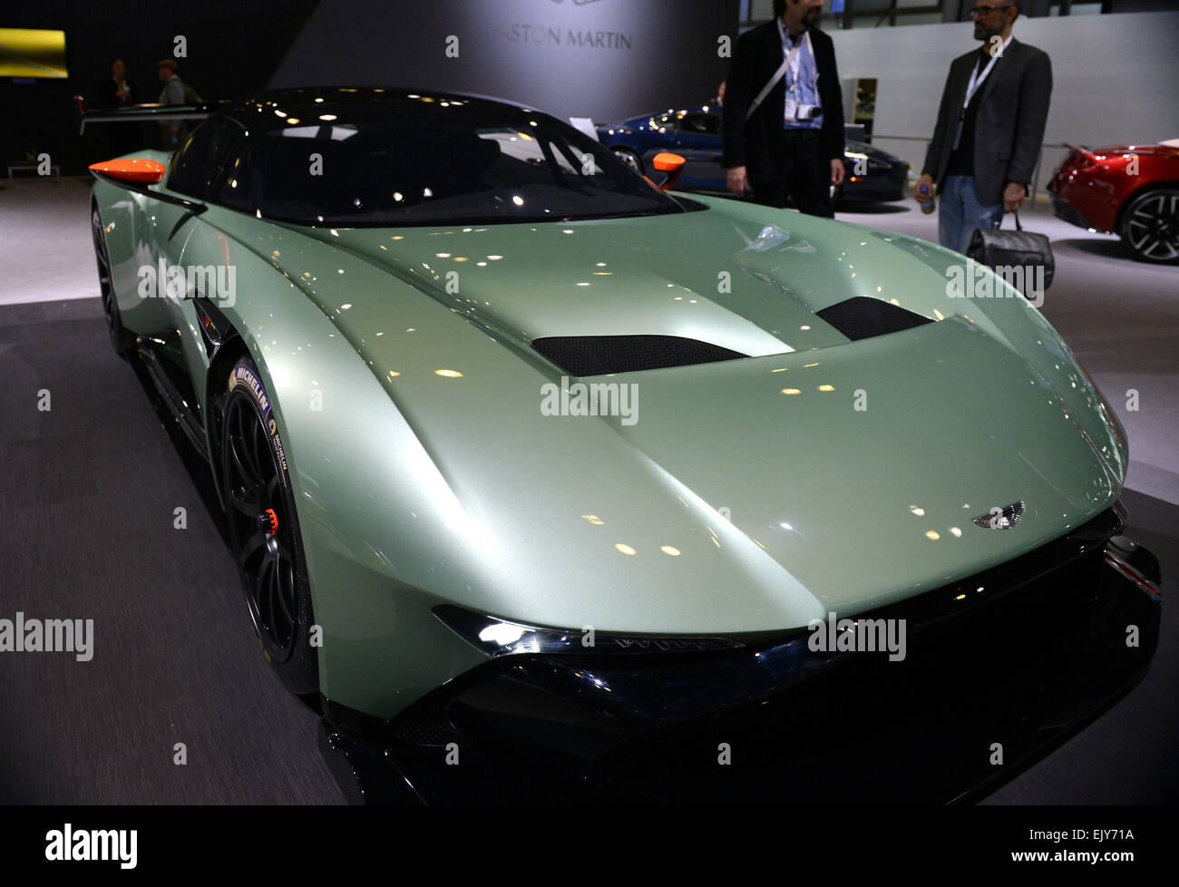 New York, USA. 2nd Apr, 2015. An Aston Martin Vulcan is displayed at the New York International Auto Show in New - Stock Image