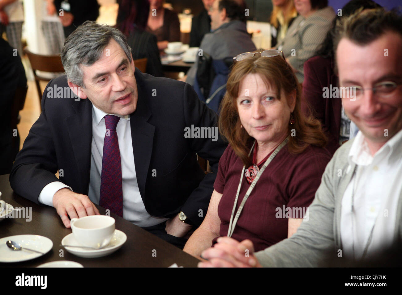 Gordon Brown chats with teachers and students at MANCAT, Ashton Old Road.  Picture: Chris Bull - Stock Image