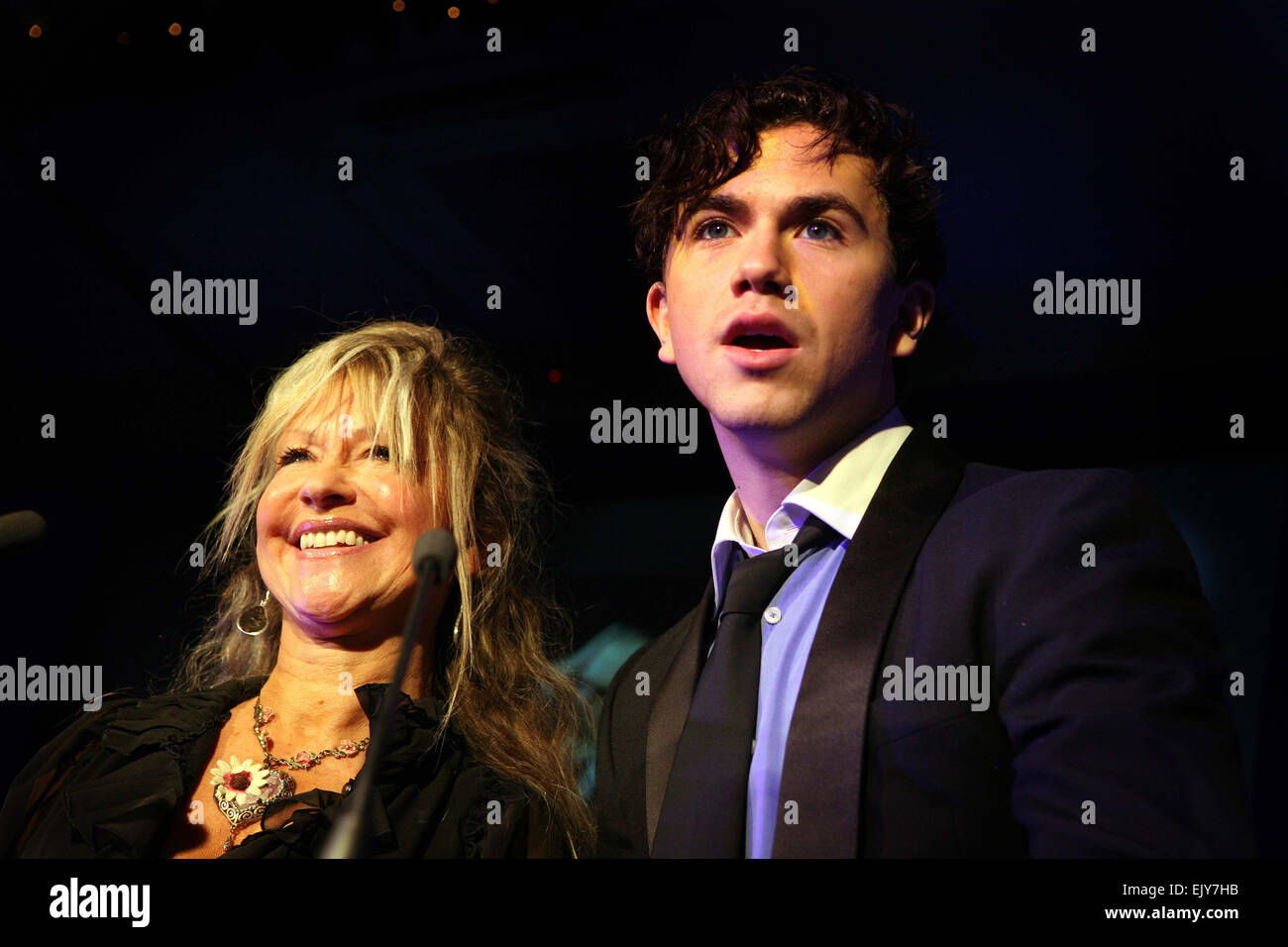 MEN Theatre Awards at the Midland Hotel.  Richard Fleeshman and Sue Jenkins  to present the Best Actor in a leading - Stock Image