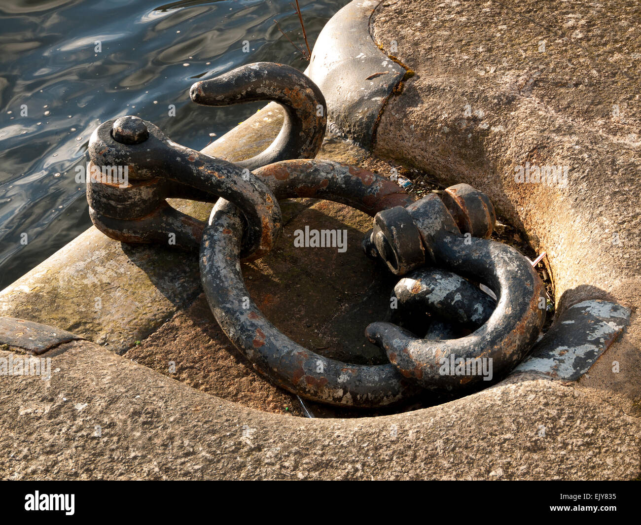 Mooring hooks and shackles at Salford Quays, Manchester, England, UK - Stock Image