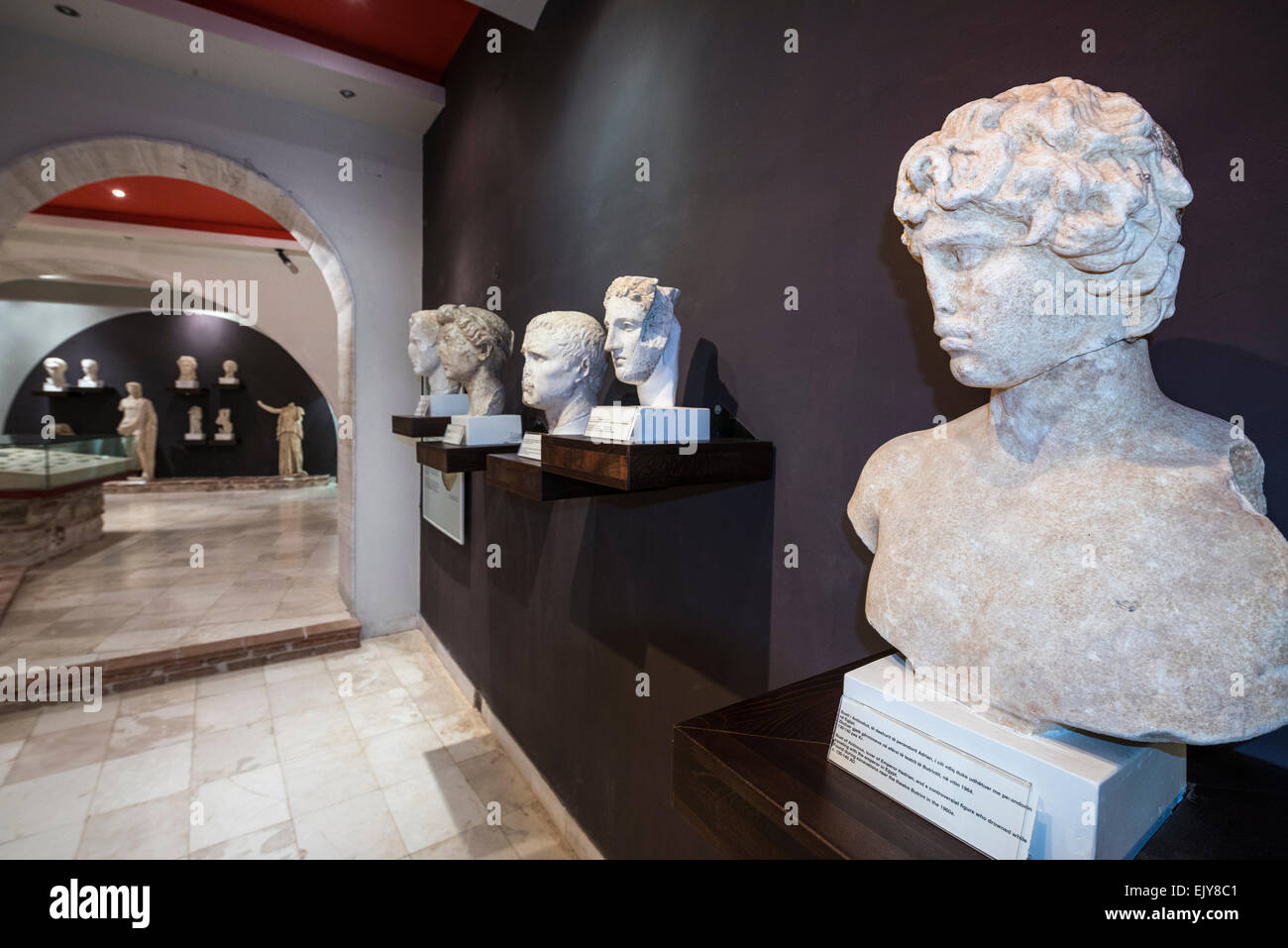 Roman busts on display at the Museum at Ancient Butrint, southern Albania. - Stock Image