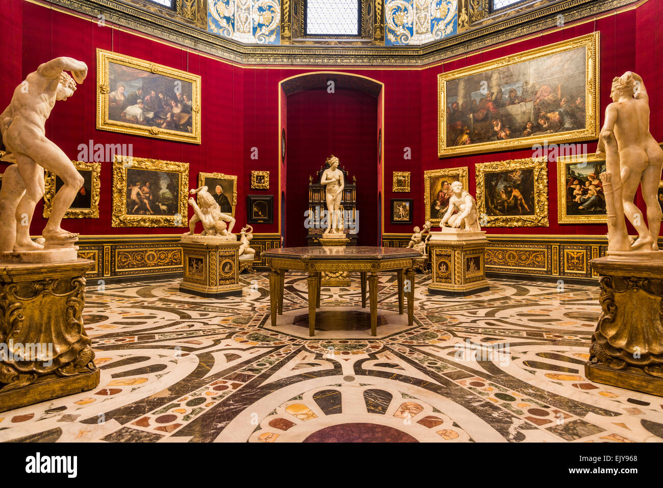 The tribuna in the uffizi gallery florence italy stock image