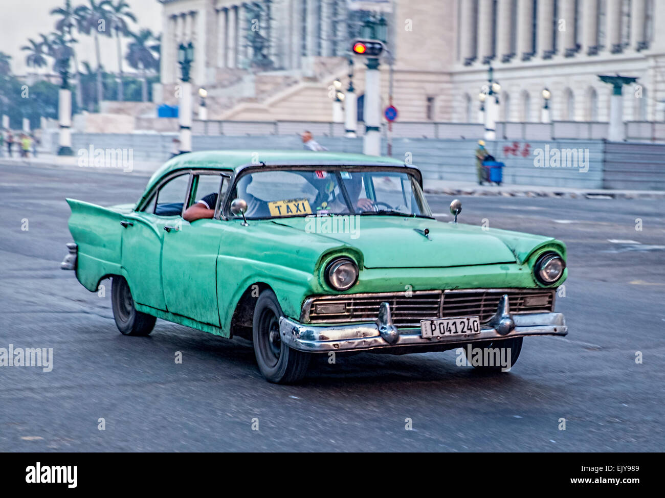 Old Green American car used as a taxi in Havana in Cuba Stock Photo ...