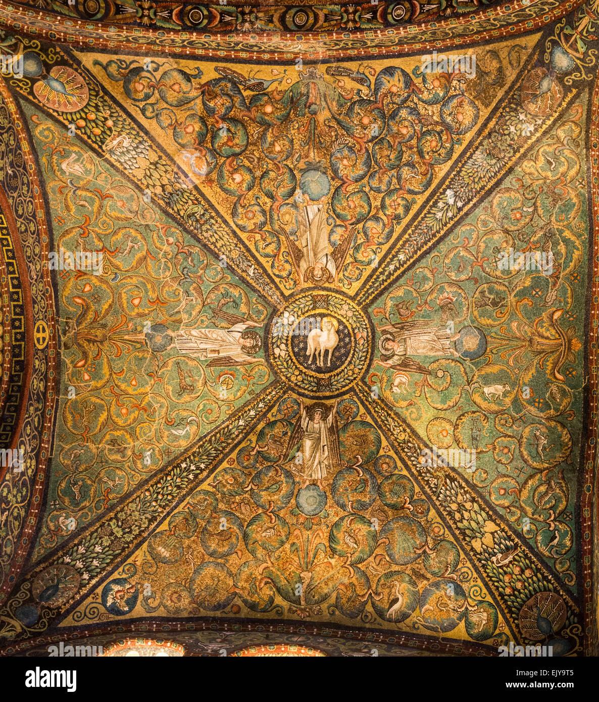 mosaics on cross vault, Basilica of San Vitale, Ravenna, Italy - Stock Image