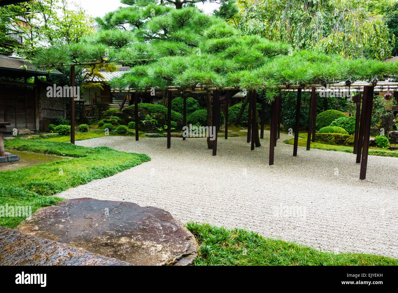 View of a traditional Japanese garden with raked gravel and sacred stone in Kyoto, Japan - Stock Image