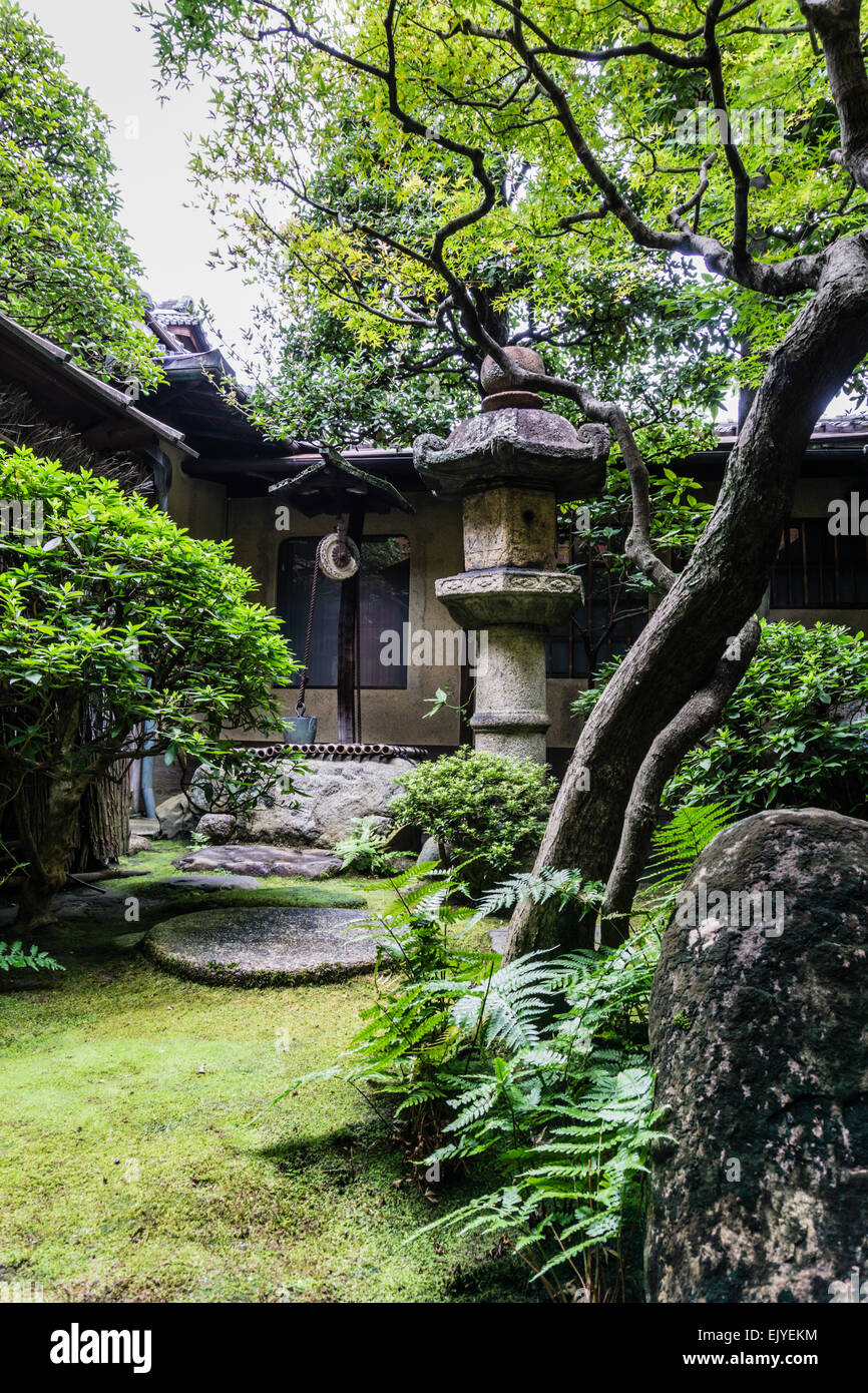 View of a traditional Japanese garden with old lantern in Kyoto, Japan - Stock Image