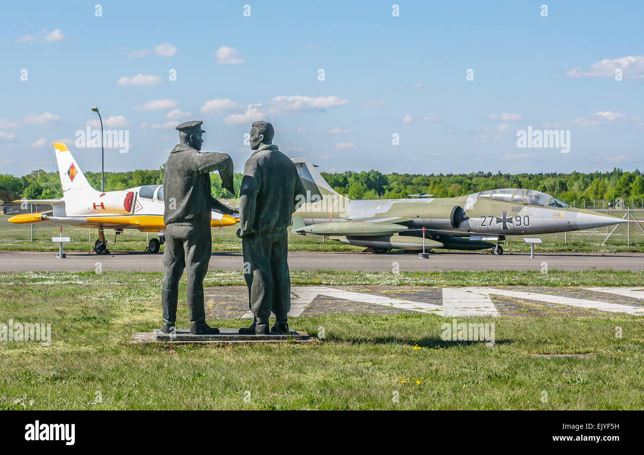 Statues of two Luftwaffe airmen at the Berlin Gatow airport in Germany which is now a World War II museum. - Stock Image