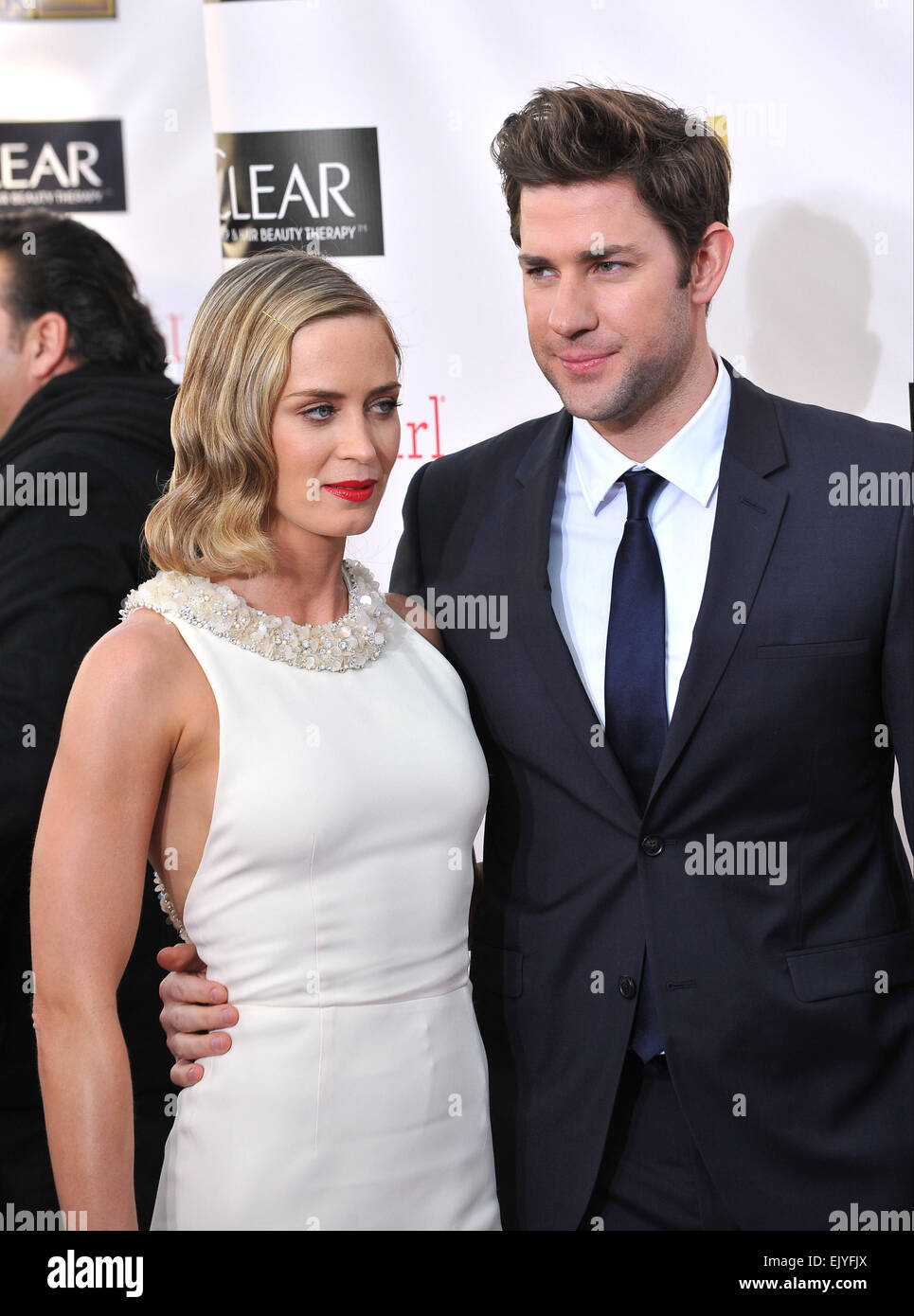 SANTA MONICA, CA - JANUARY 10, 2013: Emily Blunt & husband