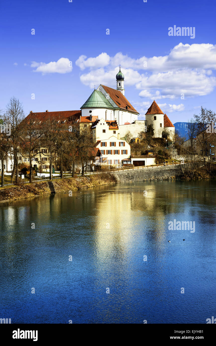 Famous Fussen little city in Bavaria, Germany - Stock Image