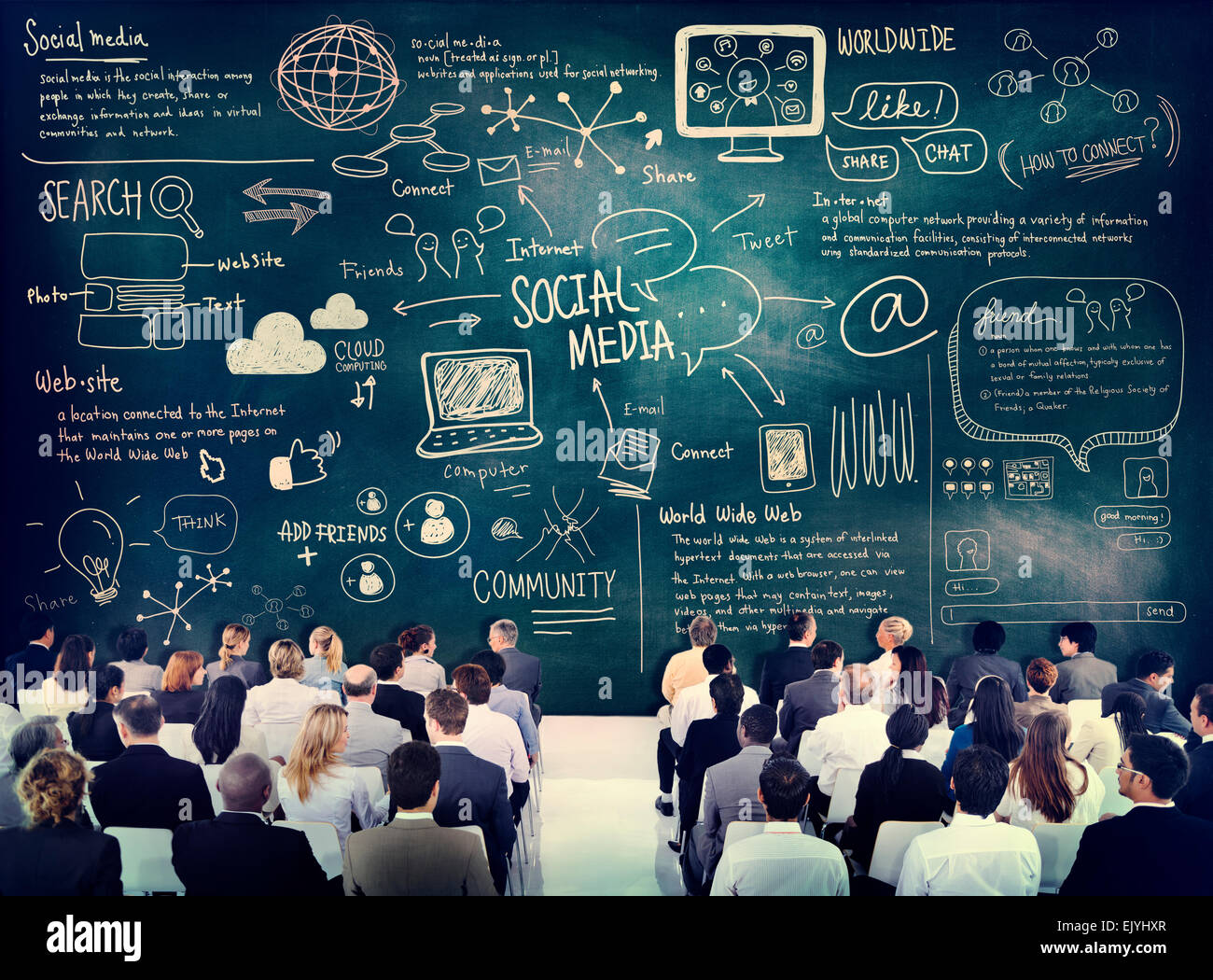 Diverse Business People Learning About Social Media - Stock Image