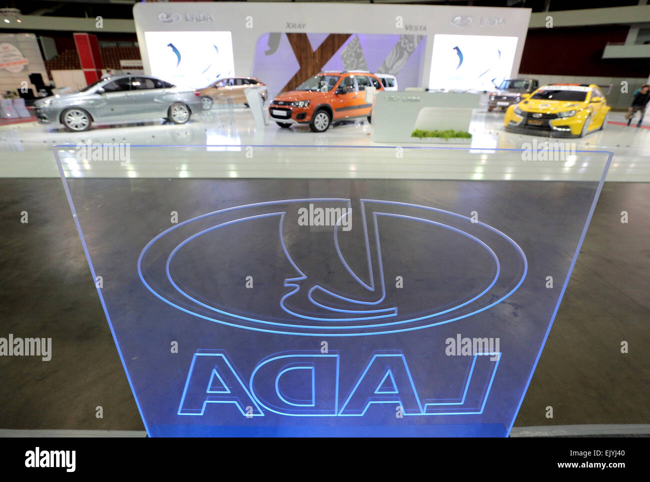 St. Petersburg, Russia. 2nd Apr, 2015. AvtoVaz's concept cars unveiled at the Auto World 2015 International Motor Stock Photo