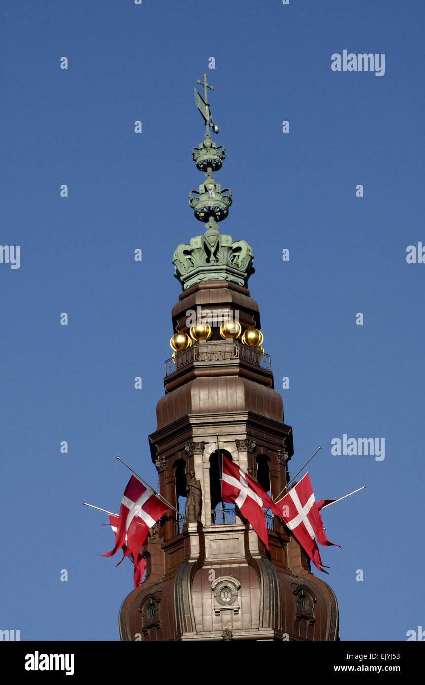 Francis Dean. 03rd Apr, 2015. Danish flag (Dannebrog) at half mast/half staff at all official buildings like Parliament, - Stock Image