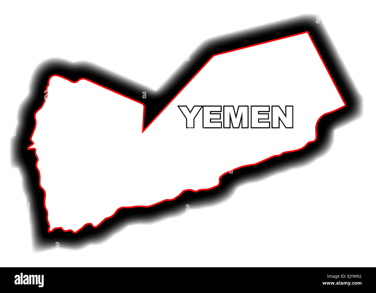 Outline map of the Arab League country of Yemen Stock Photo