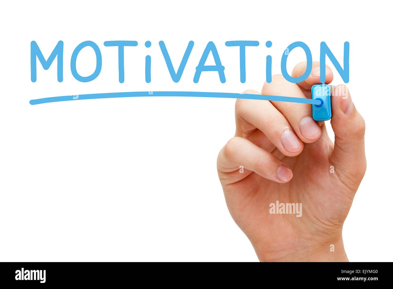 Hand writing Motivation with blue marker on transparent wipe board isolated on white. - Stock Image
