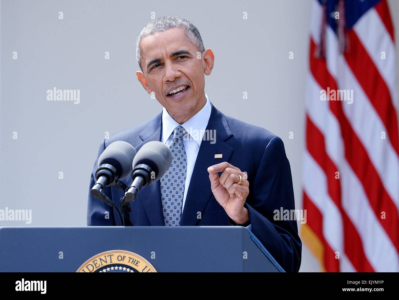 Washington, DC. 2nd Apr, 2015. United States President Barack Obama makes a statement after it was announced Iran - Stock Image