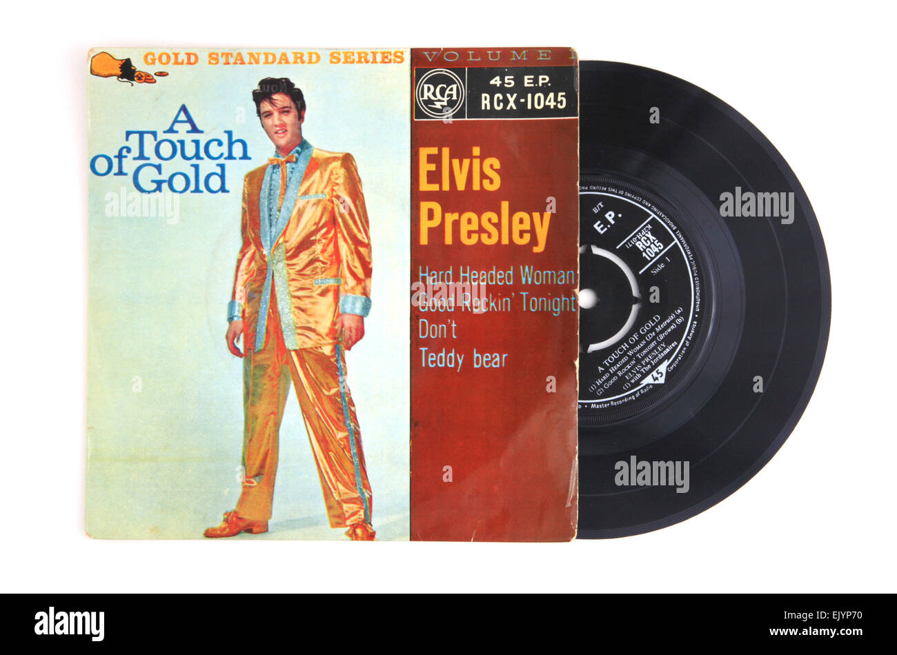 A Touch of Gold vinyl 45 rpm extended play record by Elvis Presley. Stock Photo