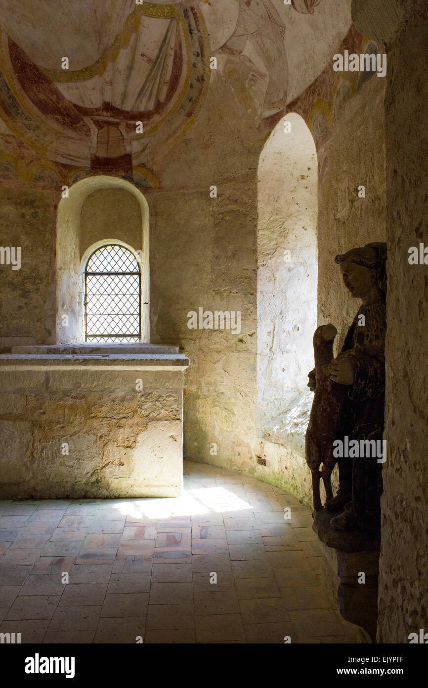 Montoire sur le Loir, Chapel of St Gilles, interior with figurine - Stock Image