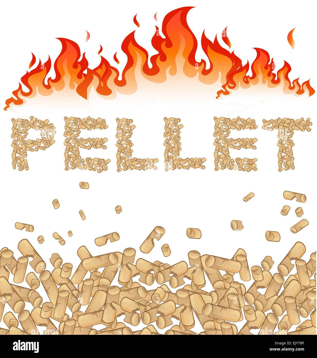 pellet background with fire on white - Stock Vector