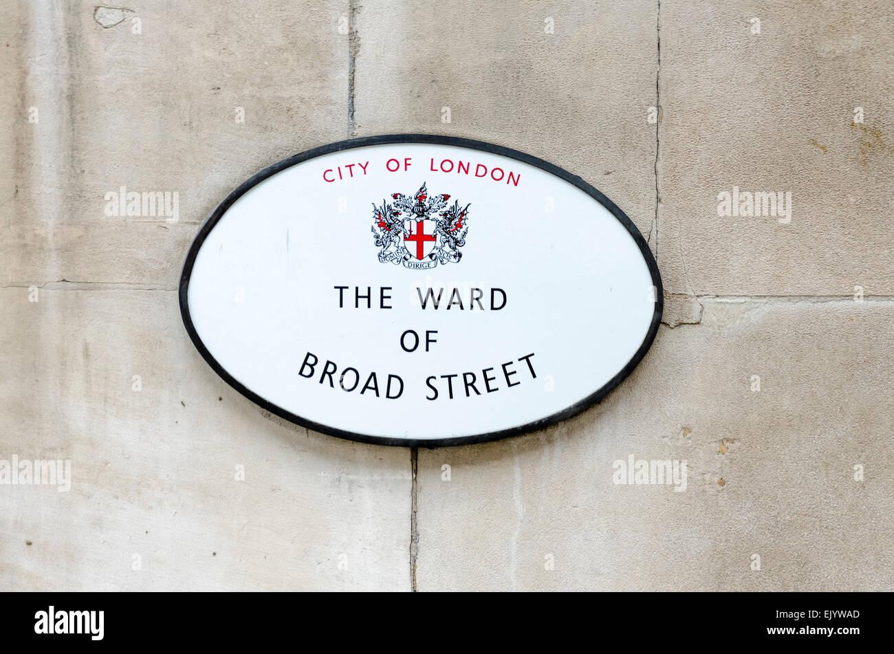 The Ward of Broad Street sign, London, UK - Stock Image