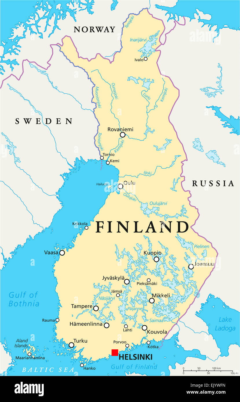 Finland Political Map with capital Helsinki national borders Stock