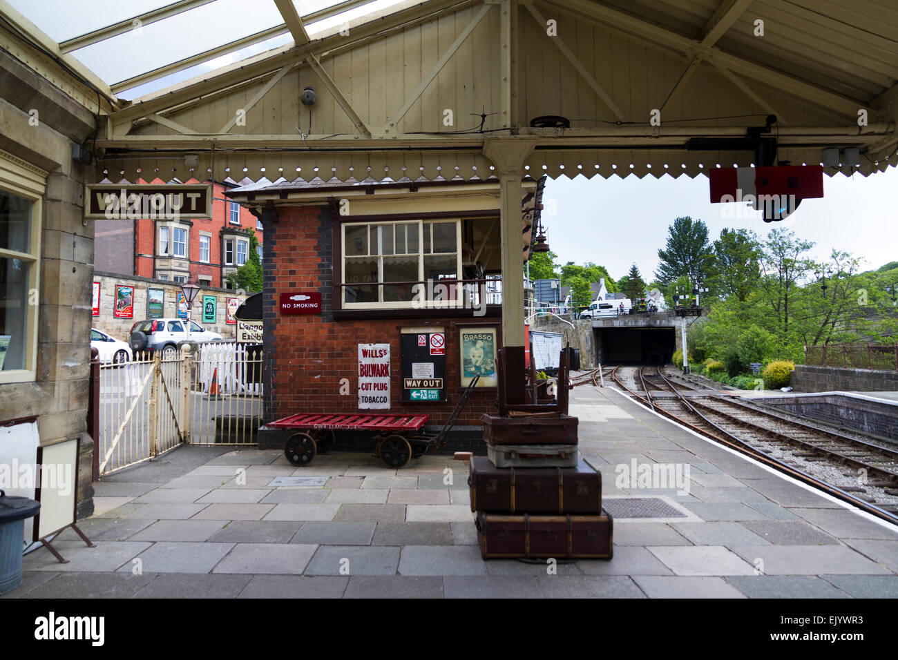 Llangollen Railway Station, where the Llangollen Light Railway runs Stock Photo