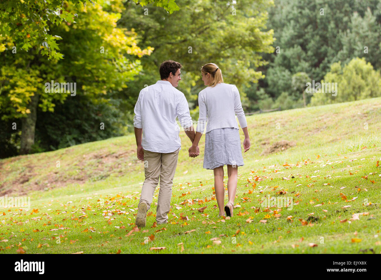 rear view of young couple walking hand in hand at the park - Stock Image