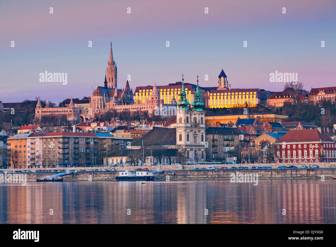 Budapest. Image of Budapest skyline during spring sunrise. - Stock Image