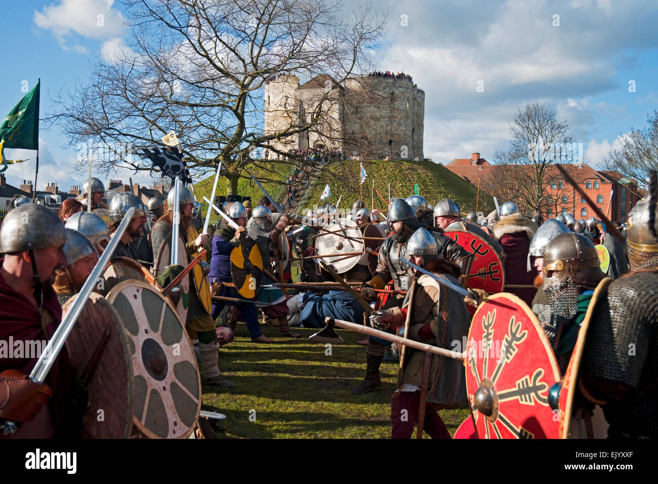 Vikings and Anglo Saxons in combat at the Annual Viking Festival York North Yorkshire England UK United Kingdom - Stock Image