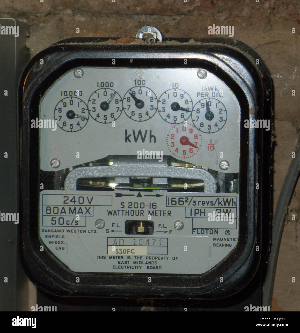 Electricity meter, old style electric meter, electricity meter with dials, meter reading, power supply, electricity, Stock Photo