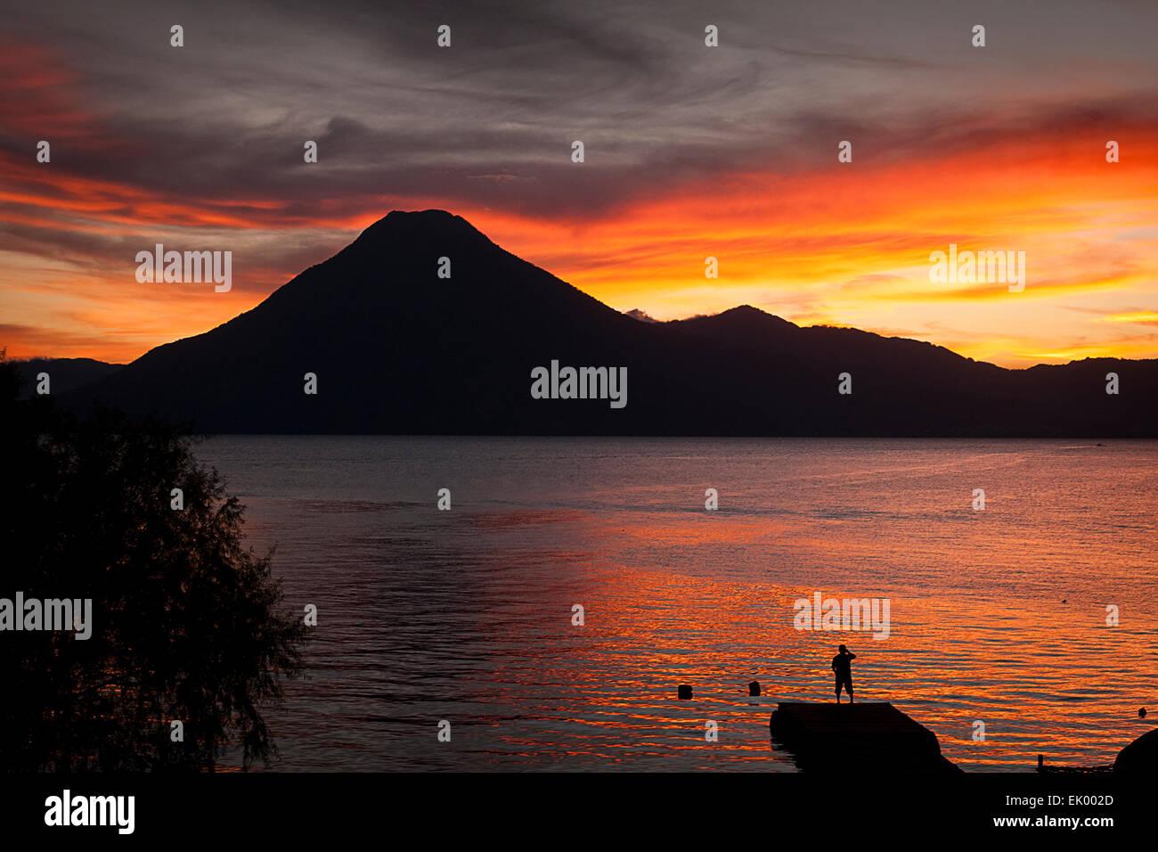 View of the Lake Atitlan from panajachel, Solola, Guatemala, Central America - Stock Image