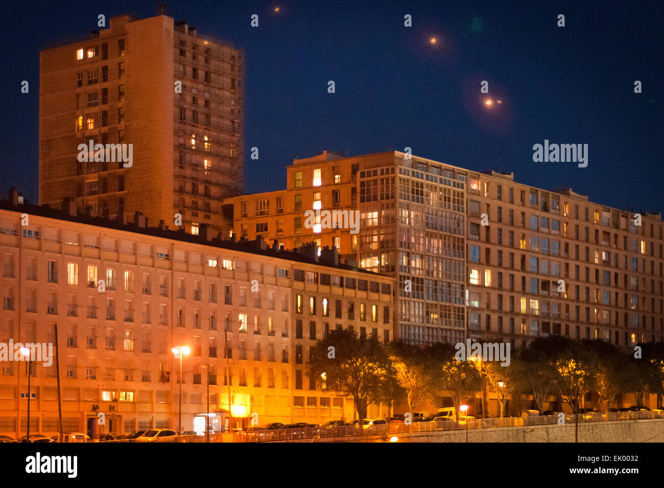 Night time architecture buildings, Marseille, France. - Stock Image
