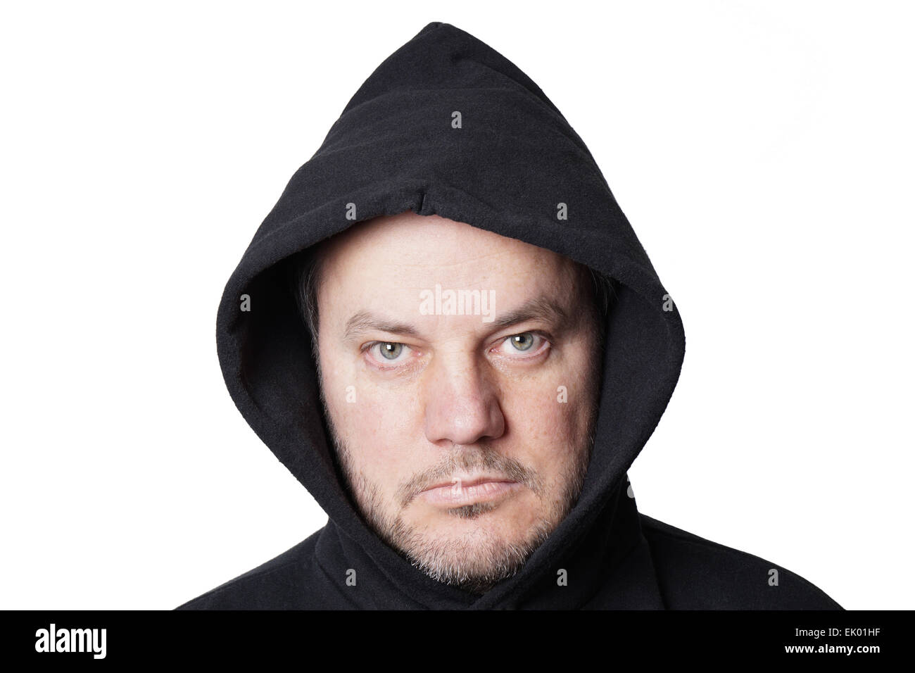 man wearing black hoodie - Stock Image