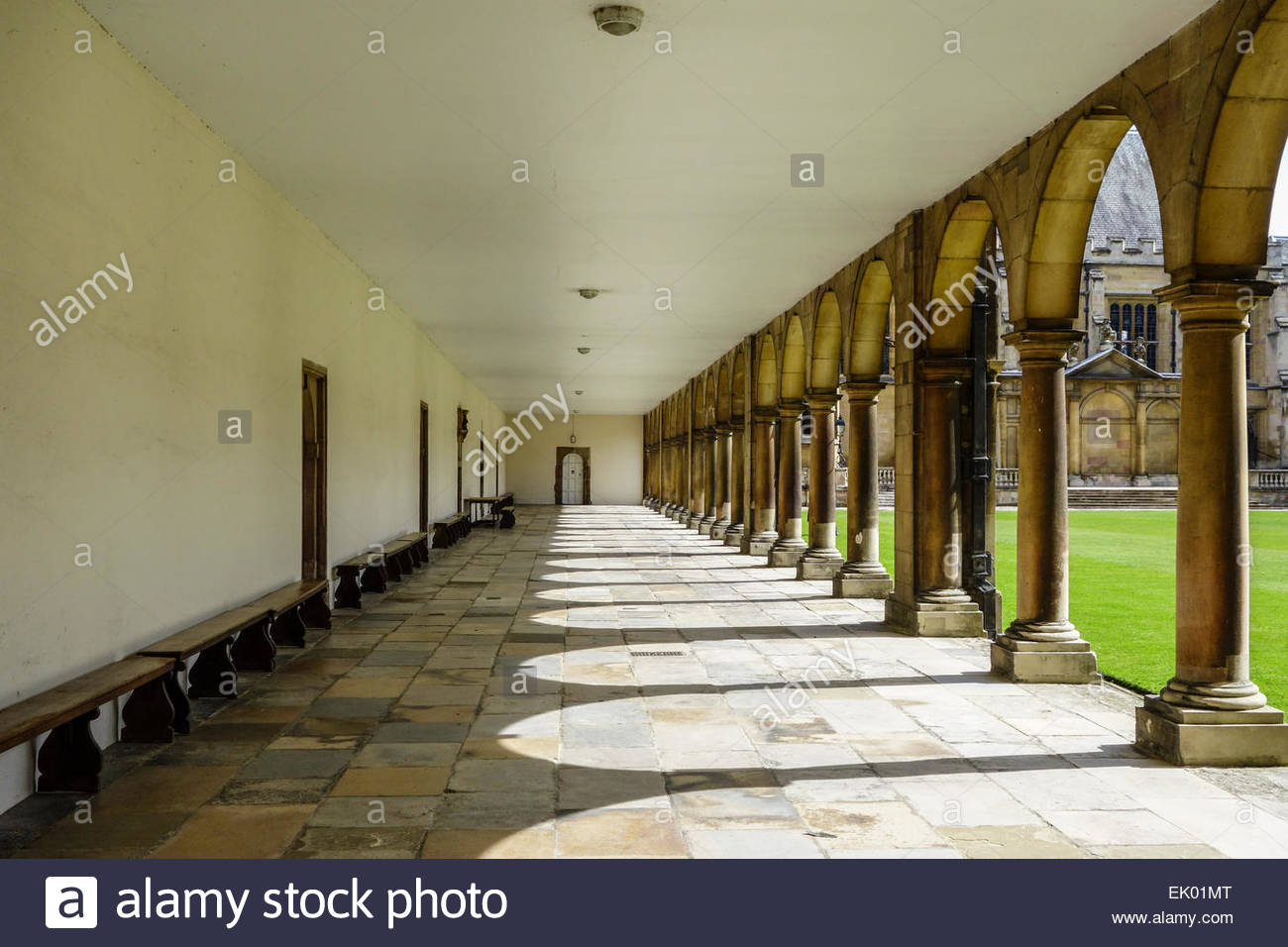 Cloisters in the Third Court at St John's College Cambridge - Stock Image