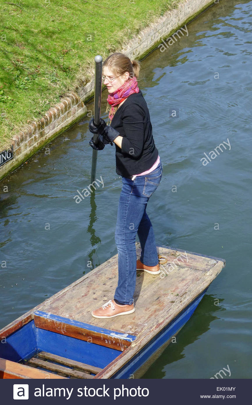 Punting on the River Cam in Cambridge - Stock Image