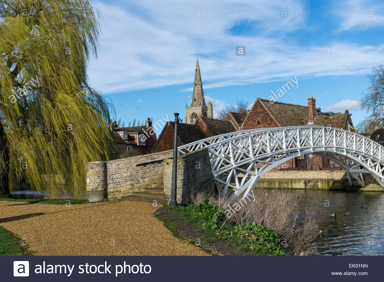 The Chinese Bridge, River Great Ouse and the spire of St Mary's Church in Godmanchester, Cambridgeshire, England - Stock Image
