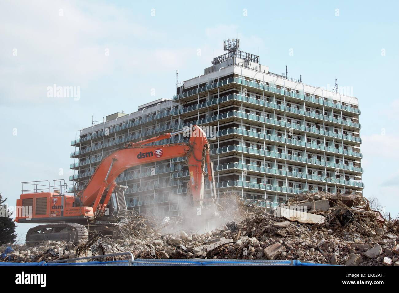 Demolition, clearing site with Northampton house in the background Stock Photo