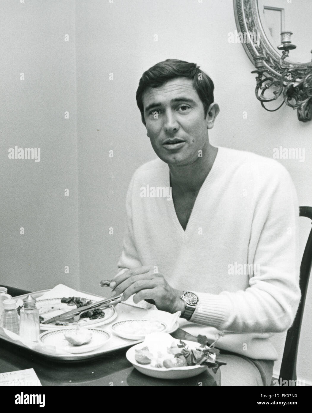 GEORGE LAZENBY  Australian actor at his Park Lane, London,  apartment in October 1968, before filming as James Bond - Stock Image