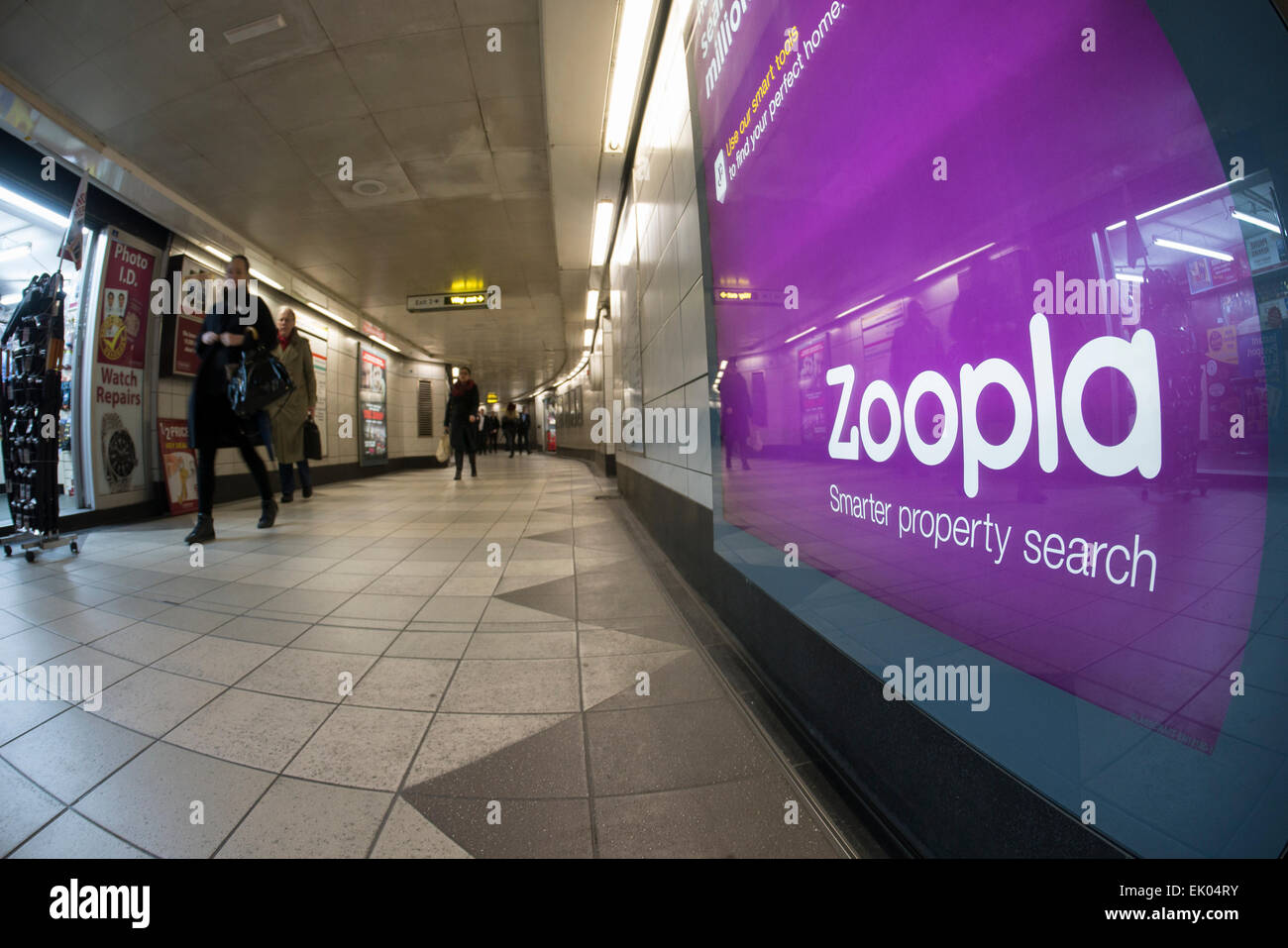 Zoopla advert online estate agent advertising poster on London underground - Stock Image