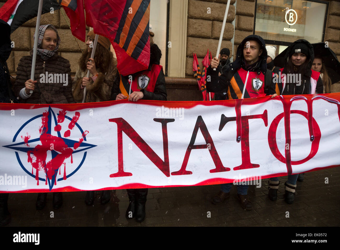 Moscow, Russia. 03 Apr, 2015. Antimaidan movement activists stage a 'Stop NATO' flashmob across the street - Stock Image