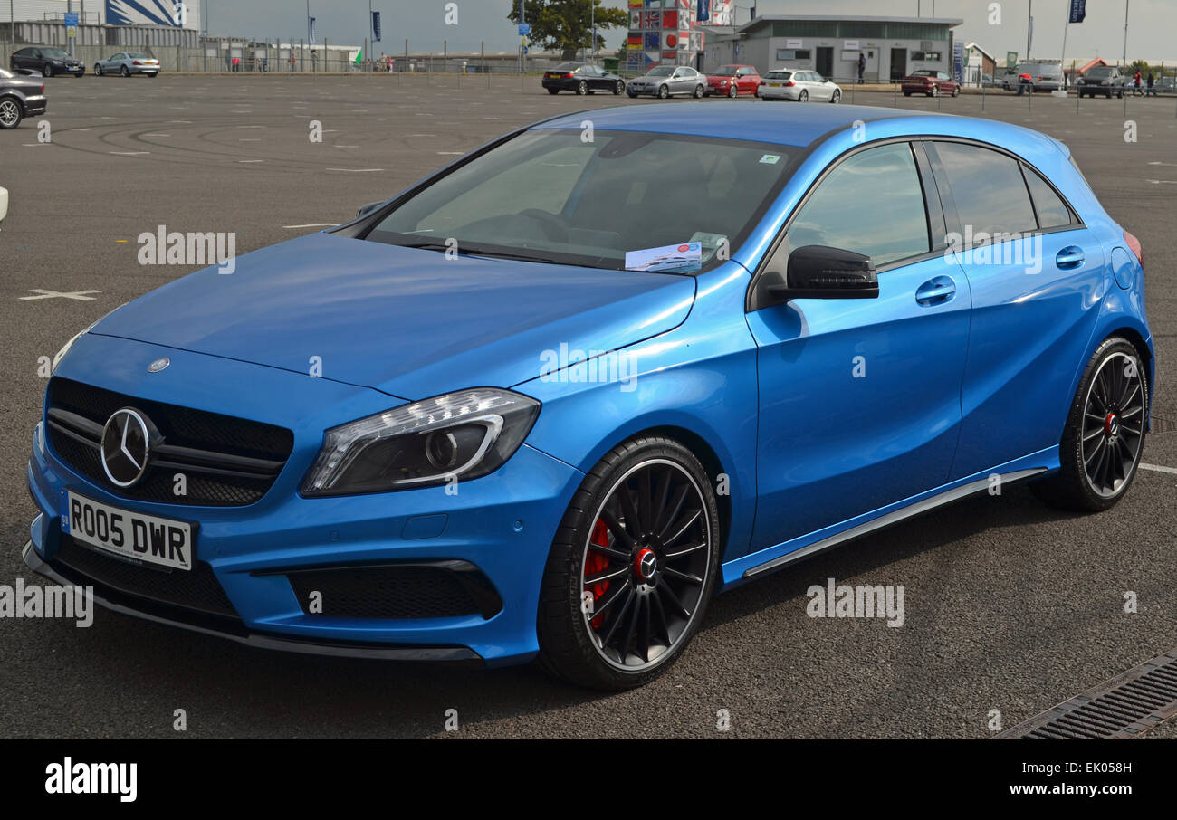 Blue Mercedes A45 AMG Hatchback - Stock Image