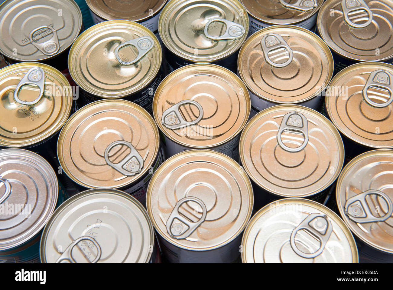 Cans of food in a kitchen drawer - Stock Image