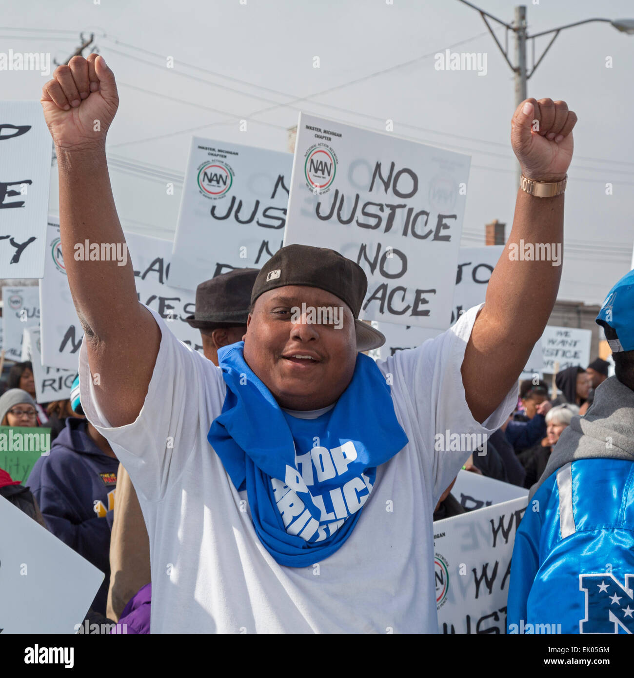 Inkster, Michigan USA. 3 April 2015. Hundreds marched to protest the beating of Floyd Dent, an African-American - Stock Image