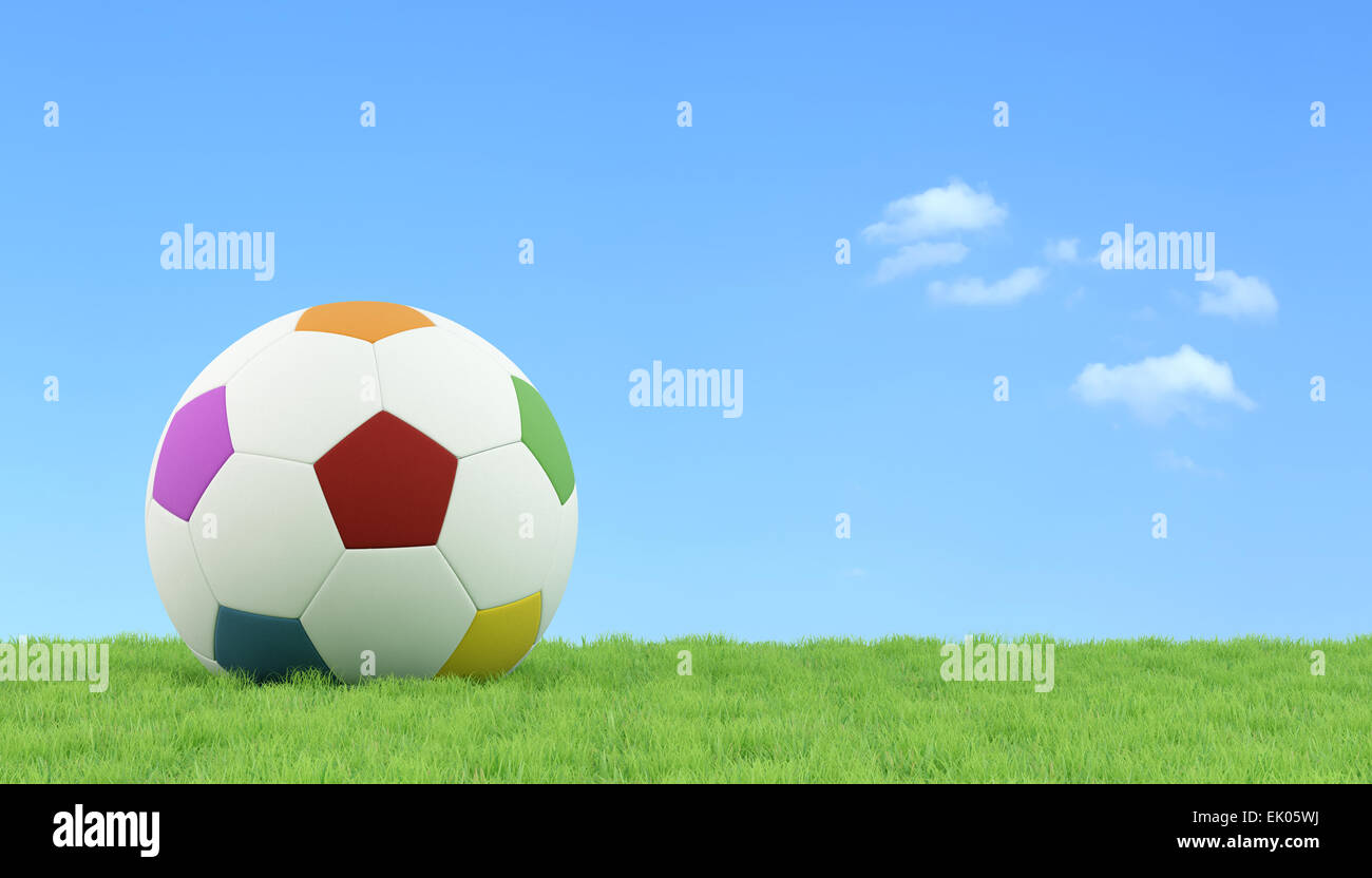 321bac7d5 Colorful soccer ball for children on a lawn - 3D Rendering - Stock Image