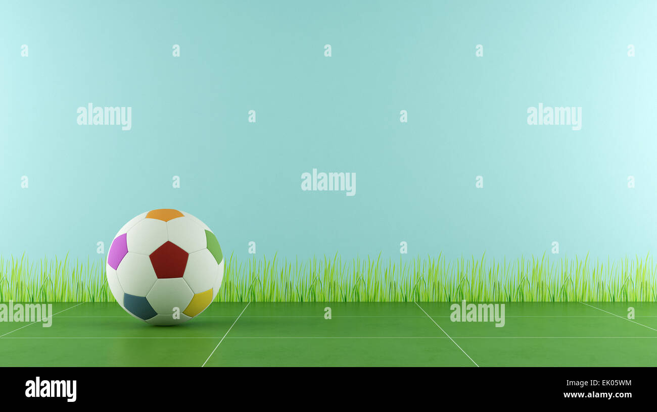 a03bb80db Play room with colorful soccer ball for child - 3D Rendering - Stock Image