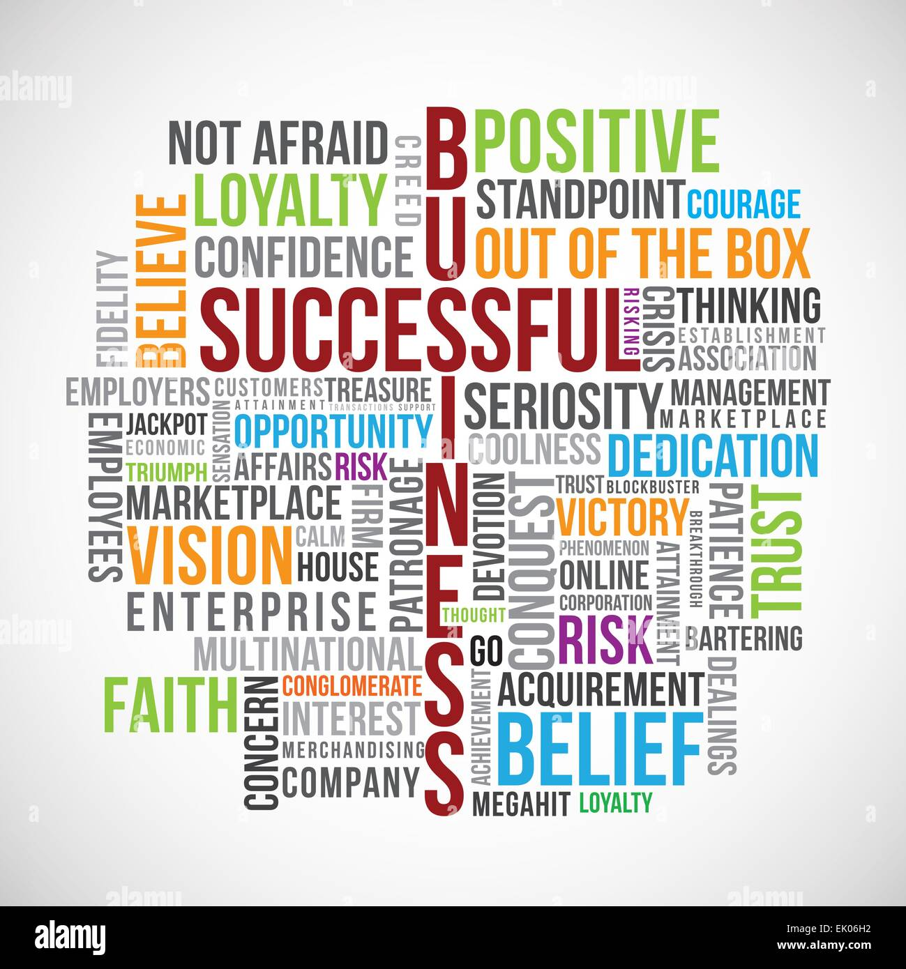 Successful business word cloud vector with related  text. - Stock Image