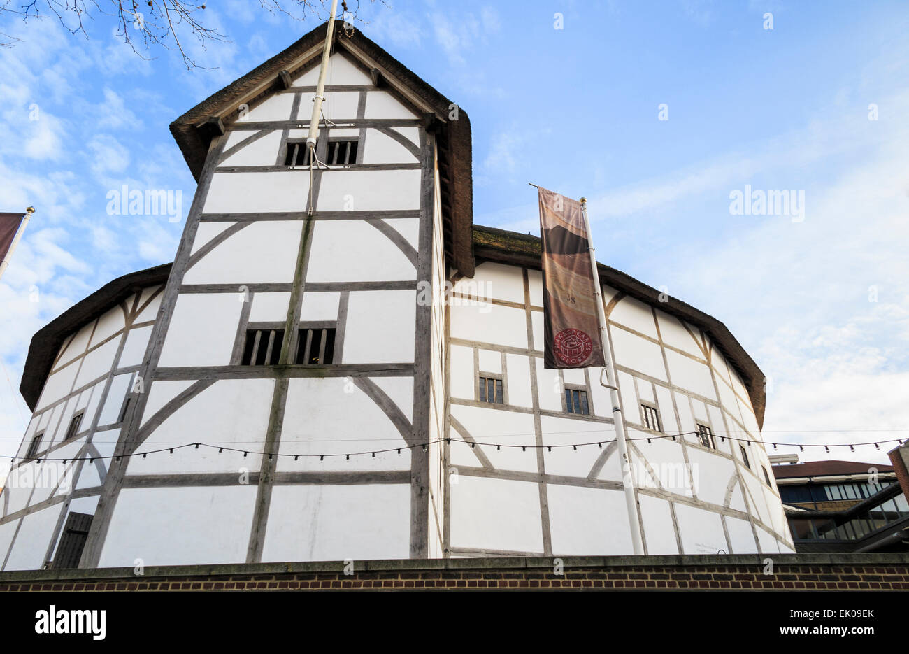 The Globe Theatre, associated with William Shakespeare, Bankside on the south bank of the Embankment, London SE1 - Stock Image