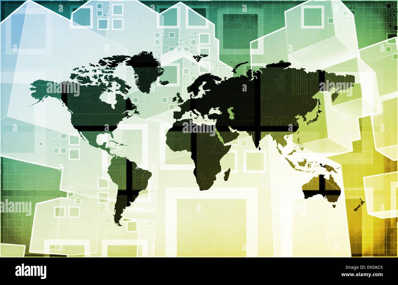 Emerging Market and International Global Businesses Art Stock Photo