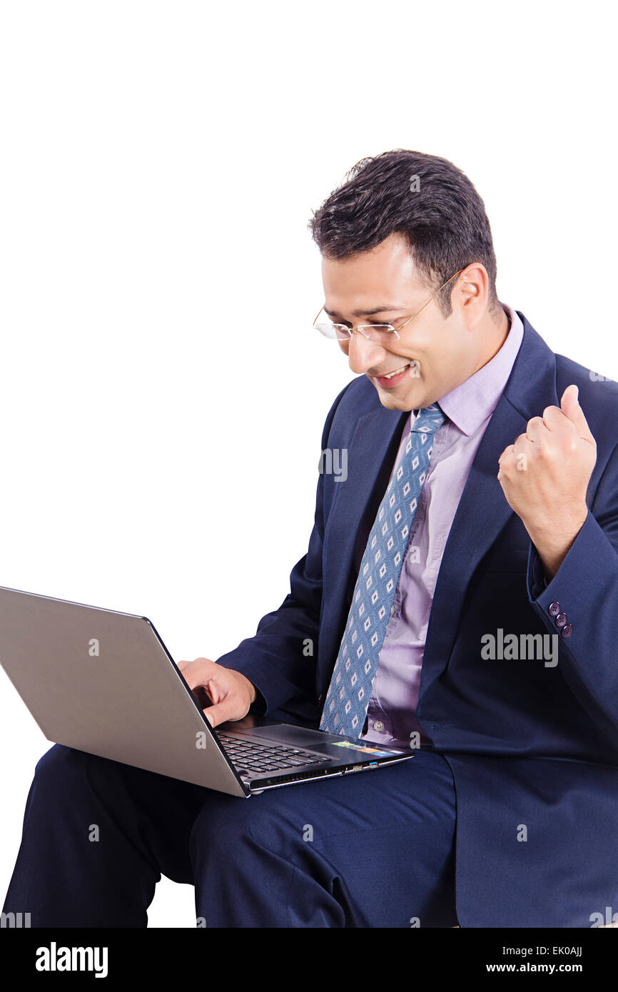 1 indian Businessman Laptop working - Stock Image