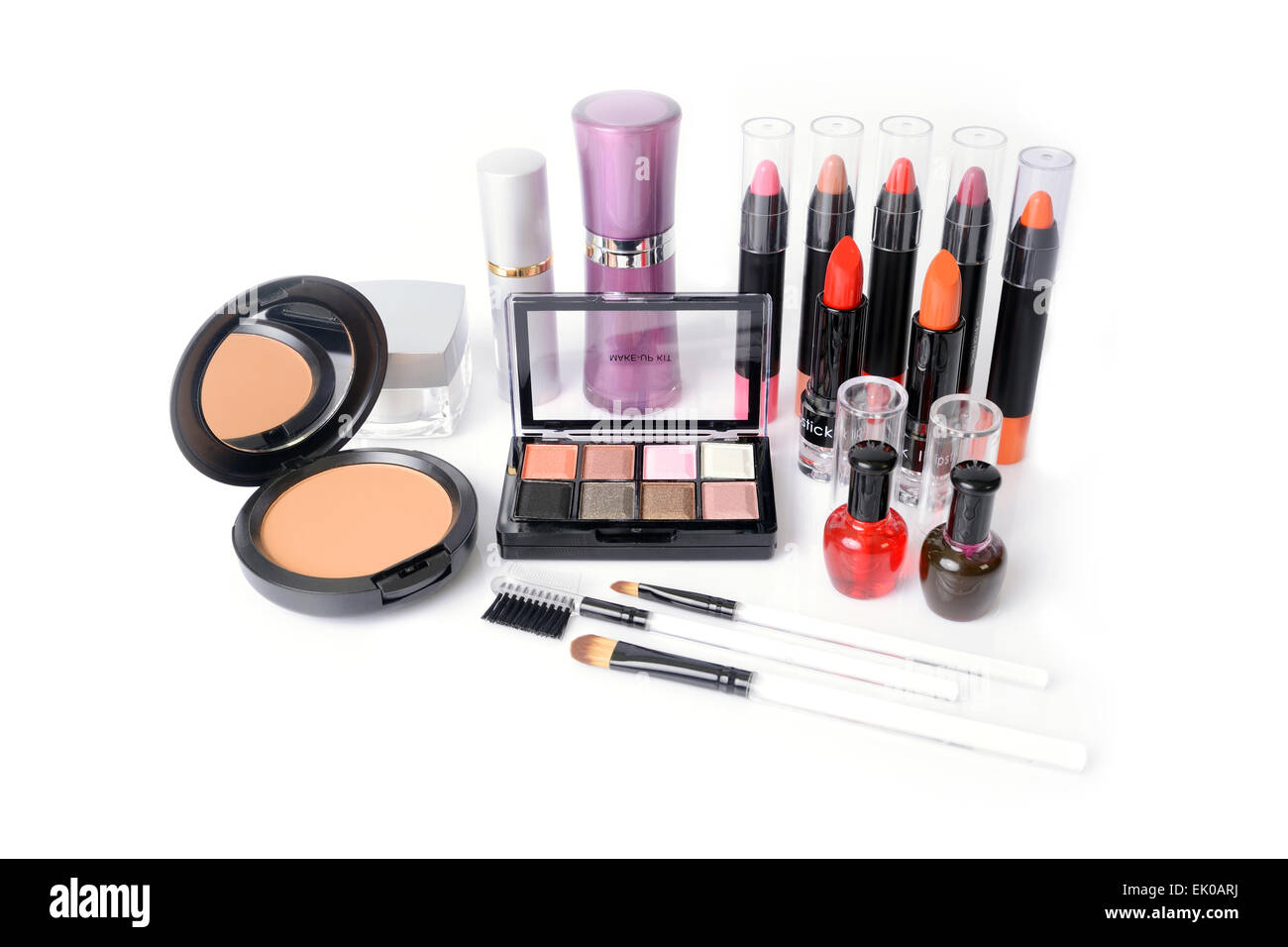Many kind of cosmetics and makeup accessory was placed in a mess. - Stock Image