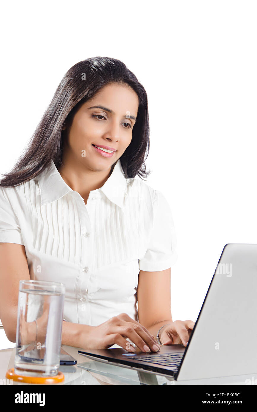 1 indian Businesswoman laptop working - Stock Image